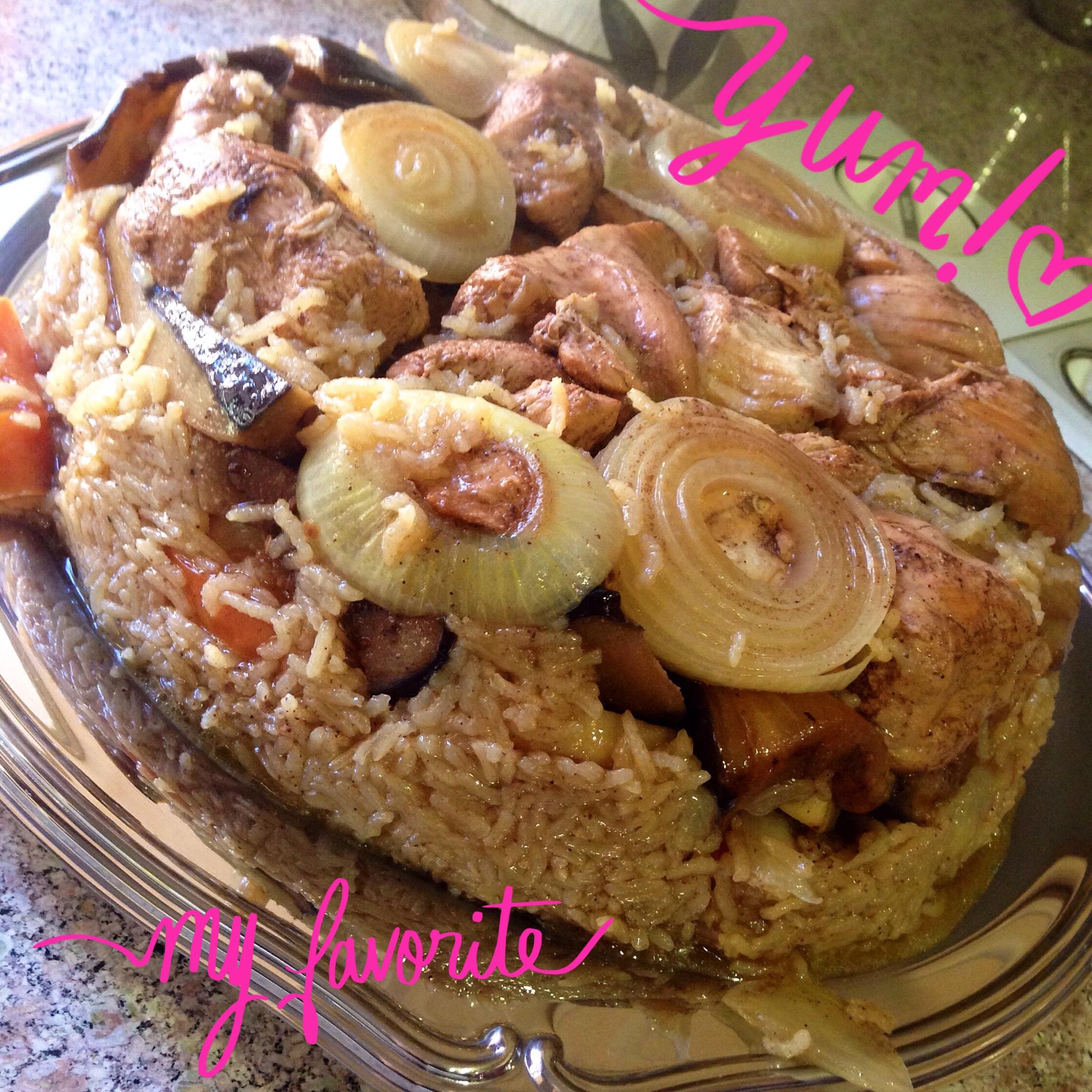 Makluba oriental rice dish recipesbnb chicken eggplant maqlubaeat drink play la forumfinder Choice Image